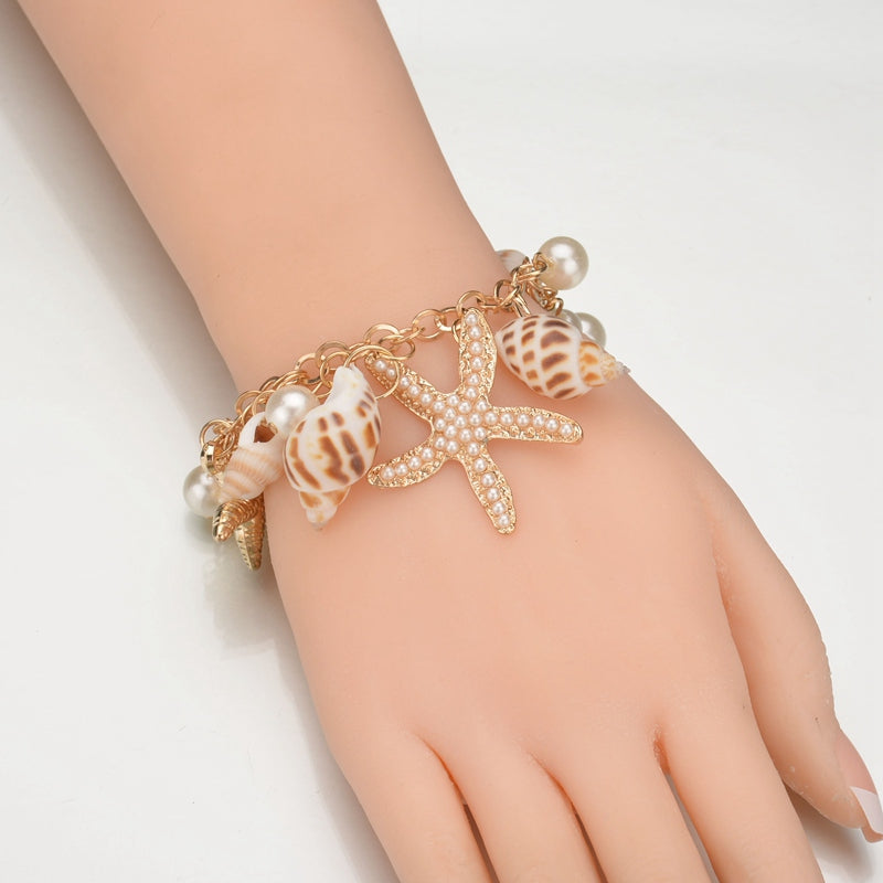 New Fashion Tidal Marine Shells And Starfish Bohemian Charm Bracelet For Women Jewelry