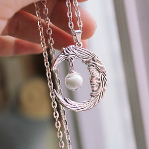 Moon necklace GLOW in the DARK Glass ball Luminous Moon Angel Pendants & Necklaces WOMEN girls gift