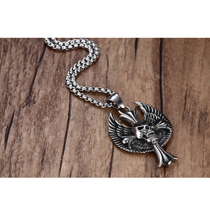 Mprainbow Mens Necklaces Stainless Steel Gothic Wing Skull Cross Pendant Necklace for Men  Hiphop Vintage Biker Choker Jewelry