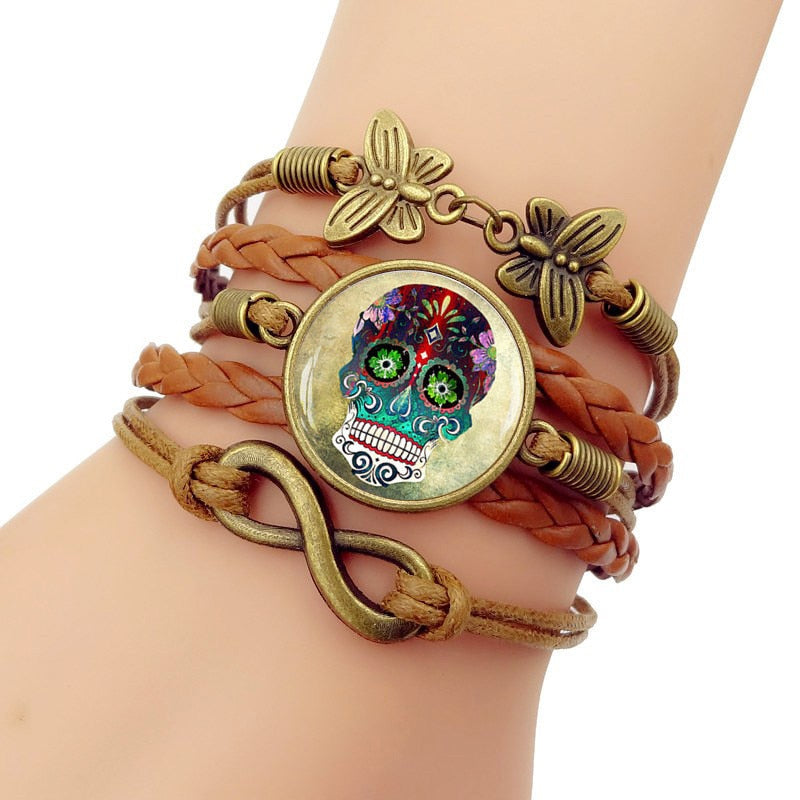 Multilayer  Glass Cabochon Bracelet Steampunk Sugar Skull Vintage Butterfly