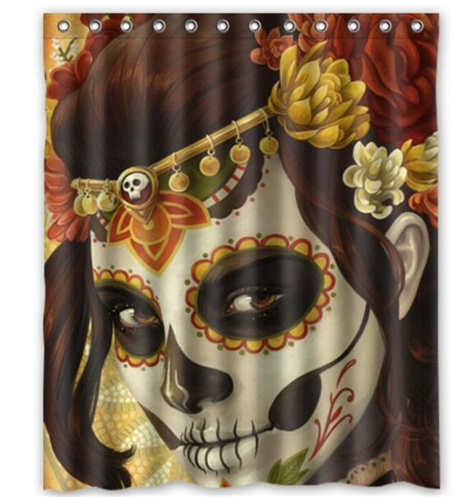 Dia De Los Muertos Suger Skull Bath Curtains Customized 160x180cm Waterproof Shower Curtain Bathroom Curtains Home Decor