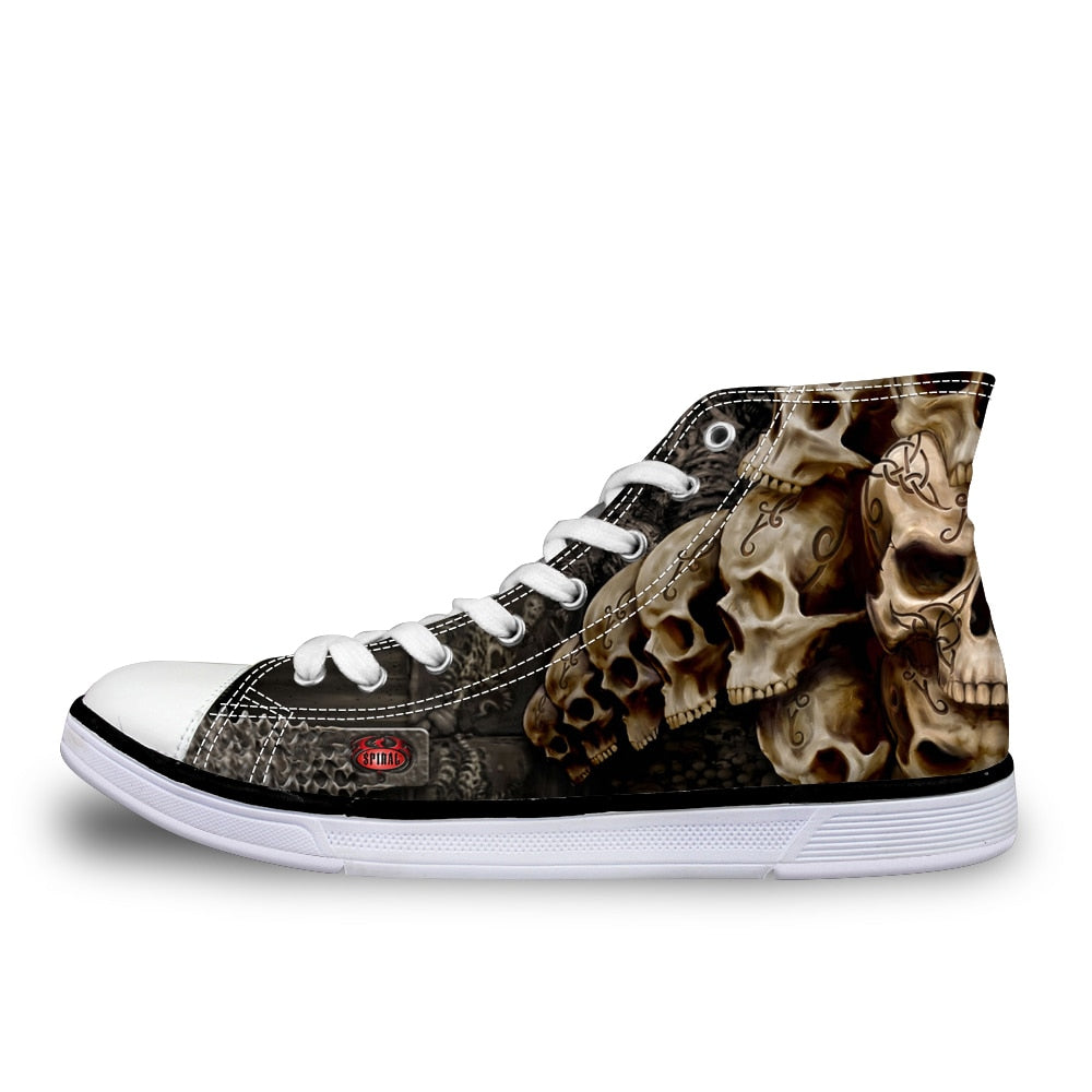 Cool Punk Skull Printed Men High-top Canvas Shoes