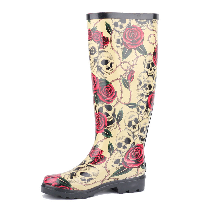 Rain Boots For Women Rubber Boots Rose Skeleton Head Sexy Cool Flats Waterproof Sapatos Botas Rainboots Plus Size