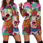New Arrival 3D Printed Floral Skull Hooded Sweatshirt Dresses