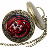 Retro Bronze Skull With Red Dragon Desgin Pocket Watch With Chain Necklace