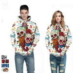 New Design Gothic Hoodies for Men Women Floral Skull