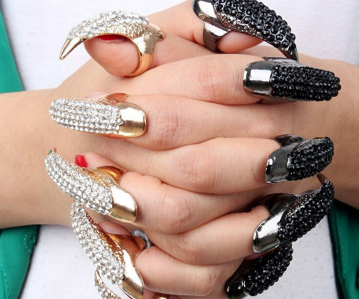 New Fashion Punk Finger Rings For Women Gold Color Cz Crystal Eagle Claw Nail Art  Decoration Party Jewelry Rings