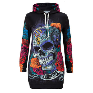 New Floral Skull Hoodie Dress Women New Fashion Streetwear Pullover Hoody