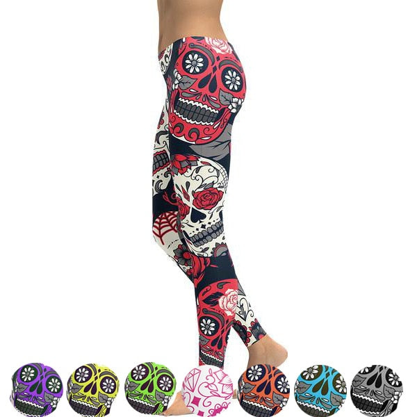 New Hot Elastic Workout Leggings Women Floral Skull