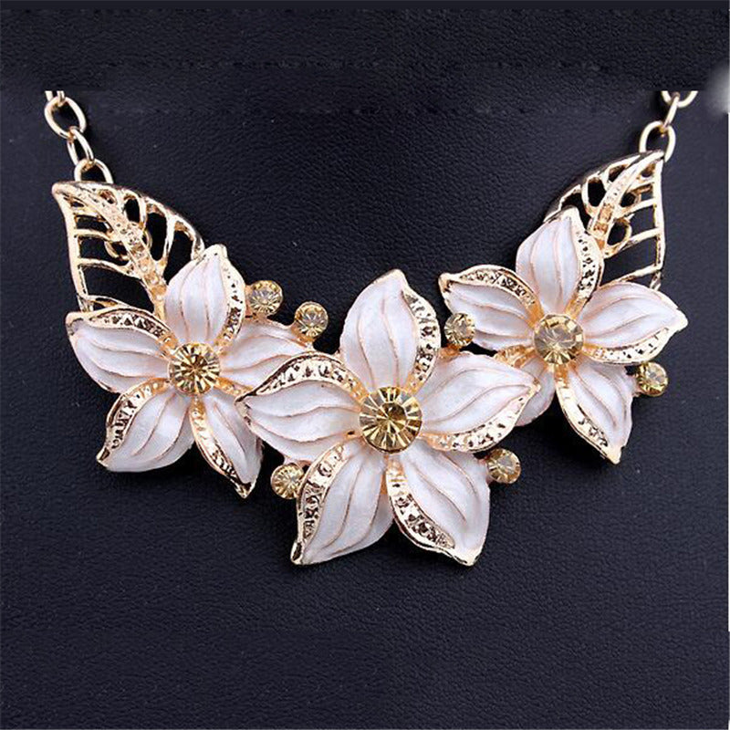 New Jewelry Sets Necklace Earrings Crystal Enamel Flower African Maxi Statement Jewelry Wedding Bridal Pendant Dress Accessories