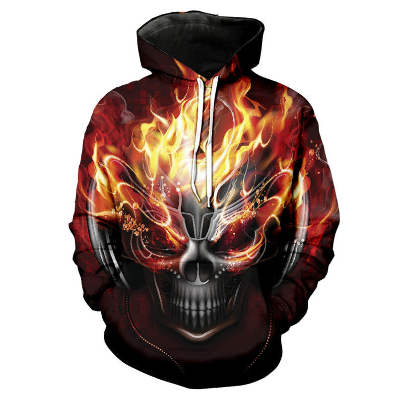 Hooded 3D Blue Red Flame Skull Hoodies Sweatshirts