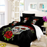 New Rose Skull Bedding Set Lady Sugar Skull Duvet Cover Set Pillowcase Black White Bedclothes Bedroom Bed Set Home Textile