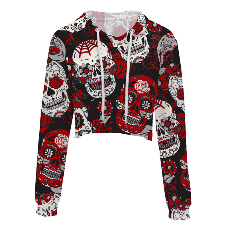 New Sexy 3d Skull Print Hoodies Women Plus Size Hoodies Hat Tops