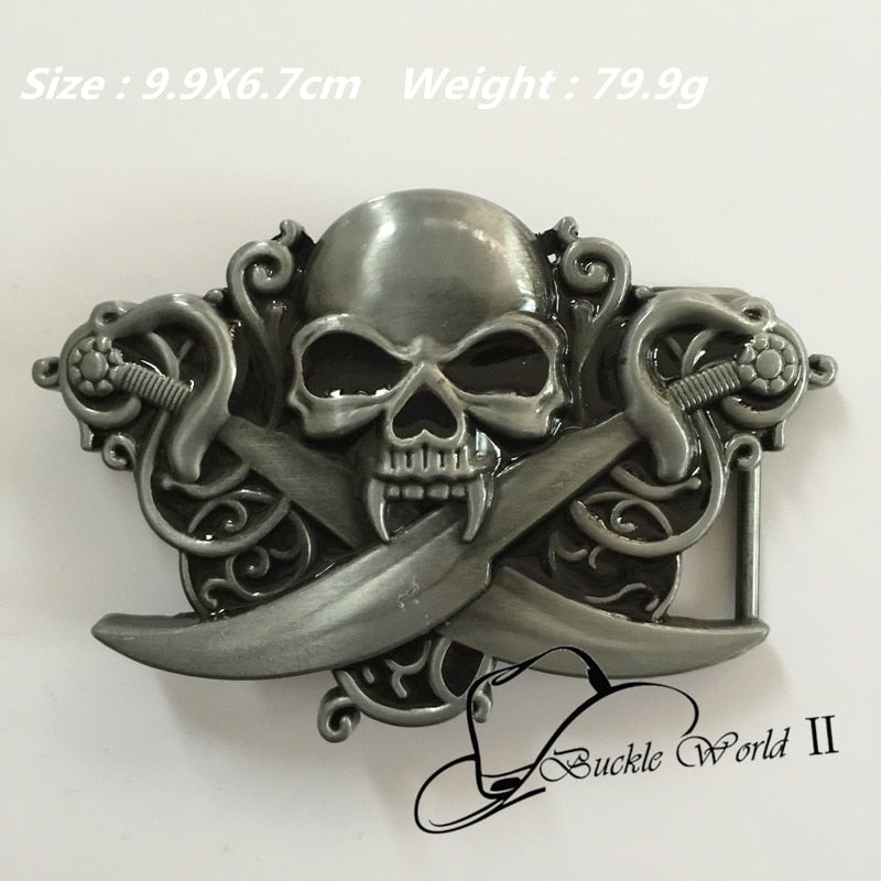 New Style High quality Cool 3D Double knife Skull Belt Buckle