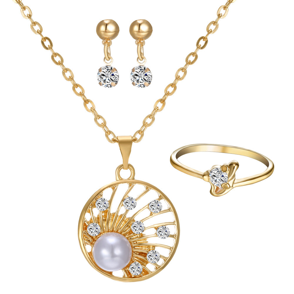 New Wedding Jewelry Set Real Hot gold color Necklaces Earrings Rings Set for Bridal with Big Austrian Crystal Imitation Pearl