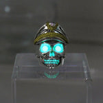 New glow ring Officer skull Ring men women Glowing Ring Luminous World War II Germany rings punk gift Glow In The Dark Jewelry
