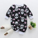 NewBorn Baby Clothes Boy Girl Long Sleeve O neck Cute Floral Skull