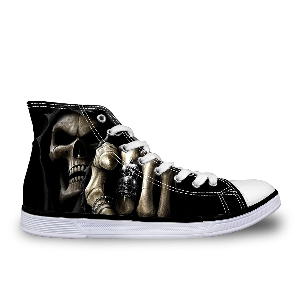 save off 69f71 64543 Cool Skull Fashion Men s Casual Canvas Shoes for Teenage Boys Leisure  Summer Sneaker