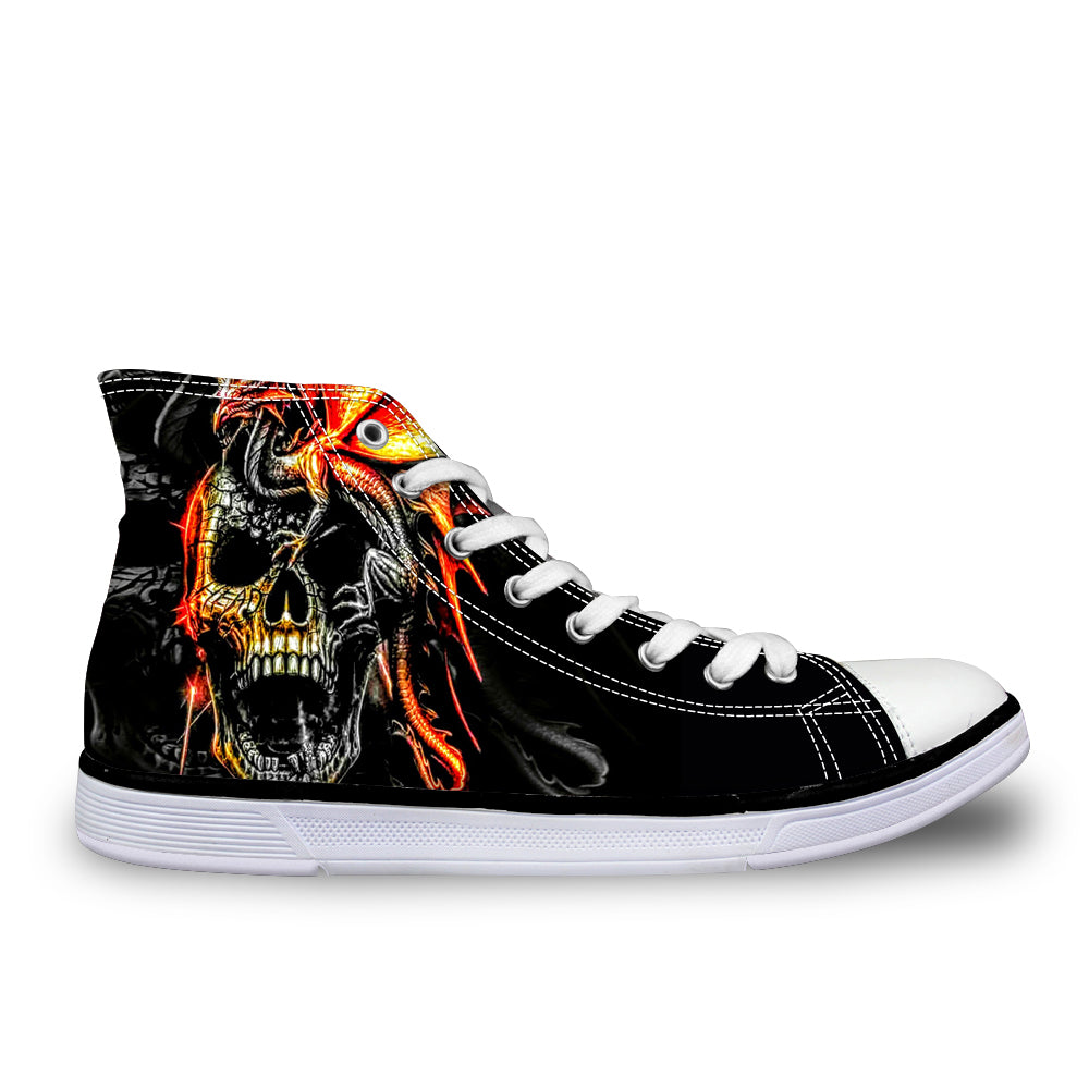 Cool Skull Fashion Men's Casual Canvas Shoes for Teenage Boys Leisure Summer Sneaker