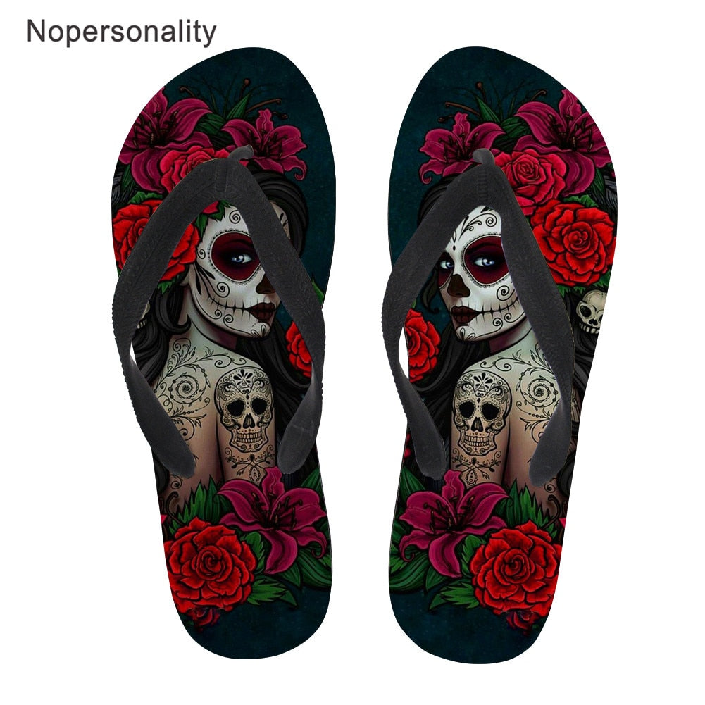 Gothic Girl Print Flip Flops Women Casual Beach Flats Light Slippers Woman Skull