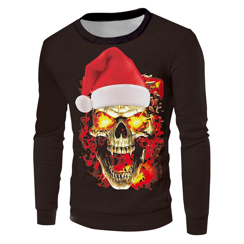 3D Printed Christmas Hat And Flame Skull New Pullover
