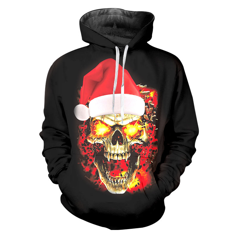 3D Printed New Christmas Hat And Flame Skull Pullover