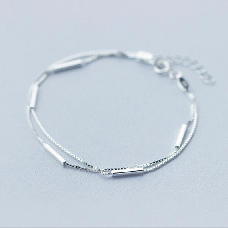 925 Sterling Silver Jewelry Female Simple Bar Round Stick Double High-quality Popular Bracelet  SB3