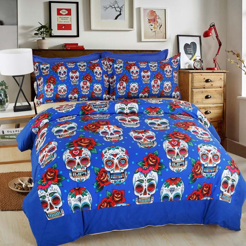 Personalized Sugar Skull Halloween Bedding Set Duvet Cover Pillowcase Bed Sheets Twin Full Queen King Size Textile Sets