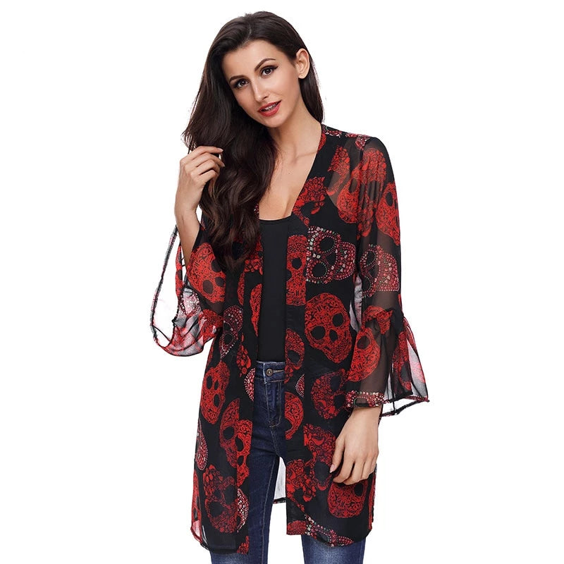 Women Cardigan Long Sleeve Red Skull