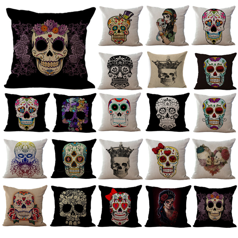 Pillowcase Vintage Mexican Skull pillow case Cotton Linen Printed pillow cover black Cartoon 18*18 Inches home Throw Pillowcases