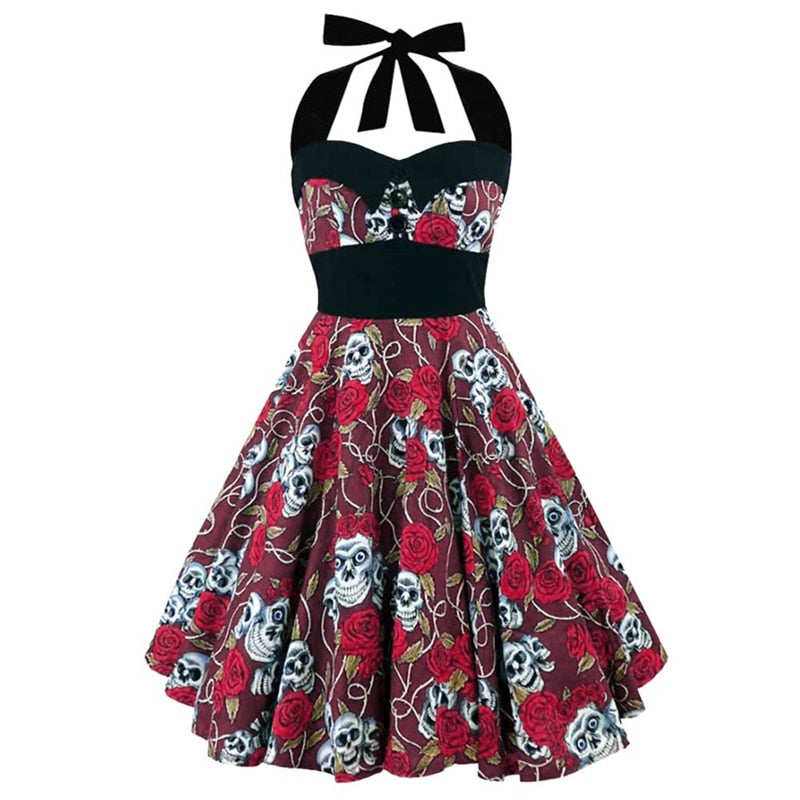 Plus Size Women Floral Skull Print Off Shoulder Sexy Halter Dress