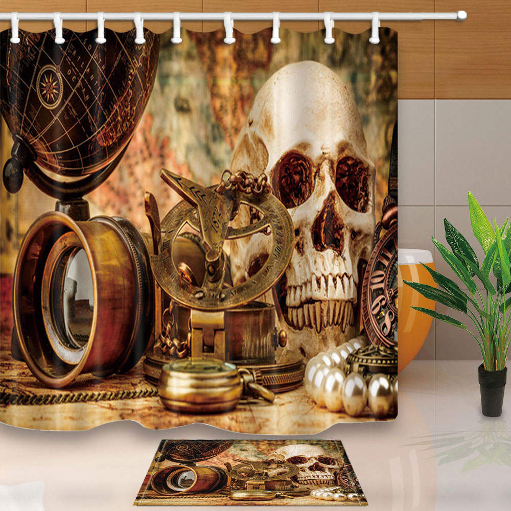 Shower Curtains Skull Globe Retro Bathroom Curtains