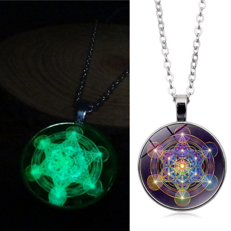 Psychedelic Sacred Geometry Luminous Necklace Glass Cabochon Pendant Silver Chain Necklace Women Glow In The Dark Jewelry