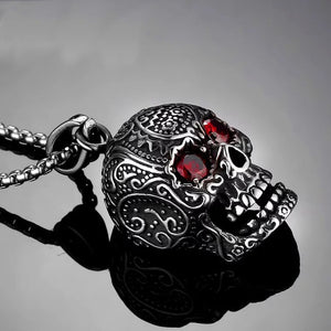 a0454e149eb70 Punk Style 3D Red Eyes Skull Pendant Necklace For Men 316L Stainless ...