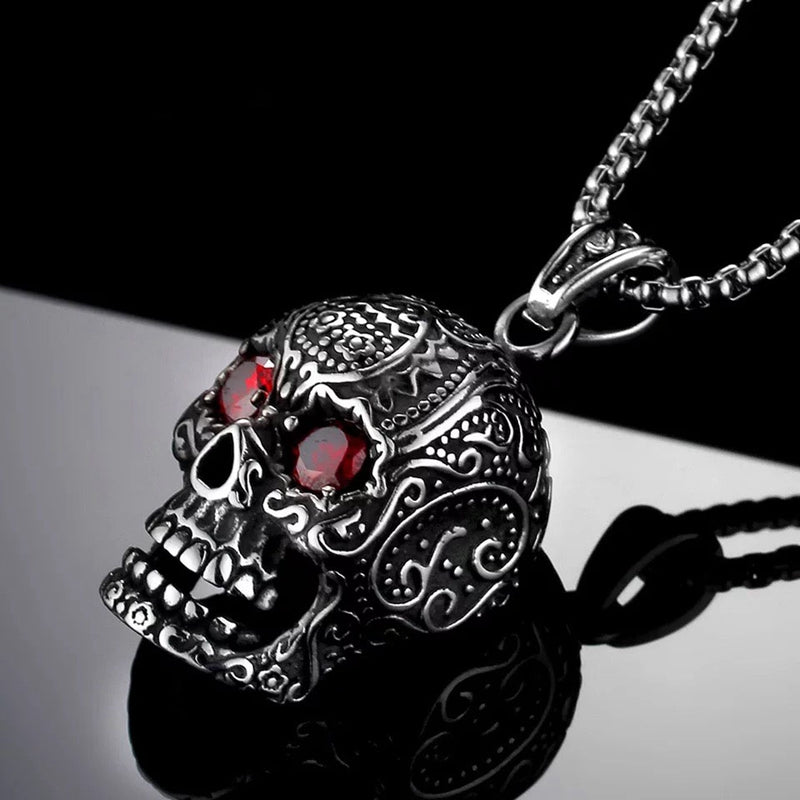 Punk Style 3D Red Eyes Skull Pendant Necklace For Men 316L Stainless Steel Biker Punk Vintage Jewelry Silver Color Gift