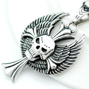 Punk Wings Skull Cross Fashion Pendant Necklace For Men 316L Stainless Steel Hip Hop Rock Biker Jewelry Party Gifts
