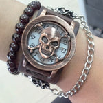 Quartz Watch Cool Gift Rock Punk Skull Skeleton Men Lady PU Band Bangle Cuff