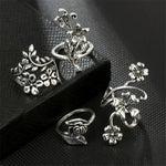 4pcs Bague Femme Vintage Knuckle Rings for Women Turkish Big Flower Leaf Midi Finger Ring Set Boho Punk Jewelry 2018
