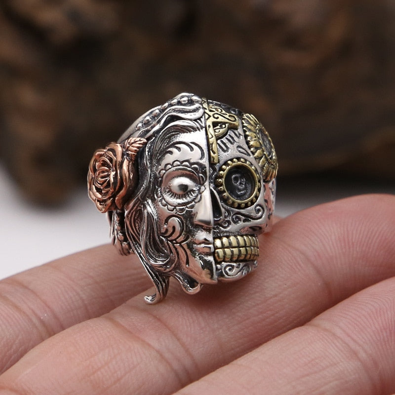 Real Pure 925 Sterling Silver Double Face Skull Ring With Rose Flower Carving Vintage Punk Thai Silver Jewelry Personality