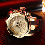 Men's Skull Hollow Quartz Watch Men Skeleton Military Watches Big Design