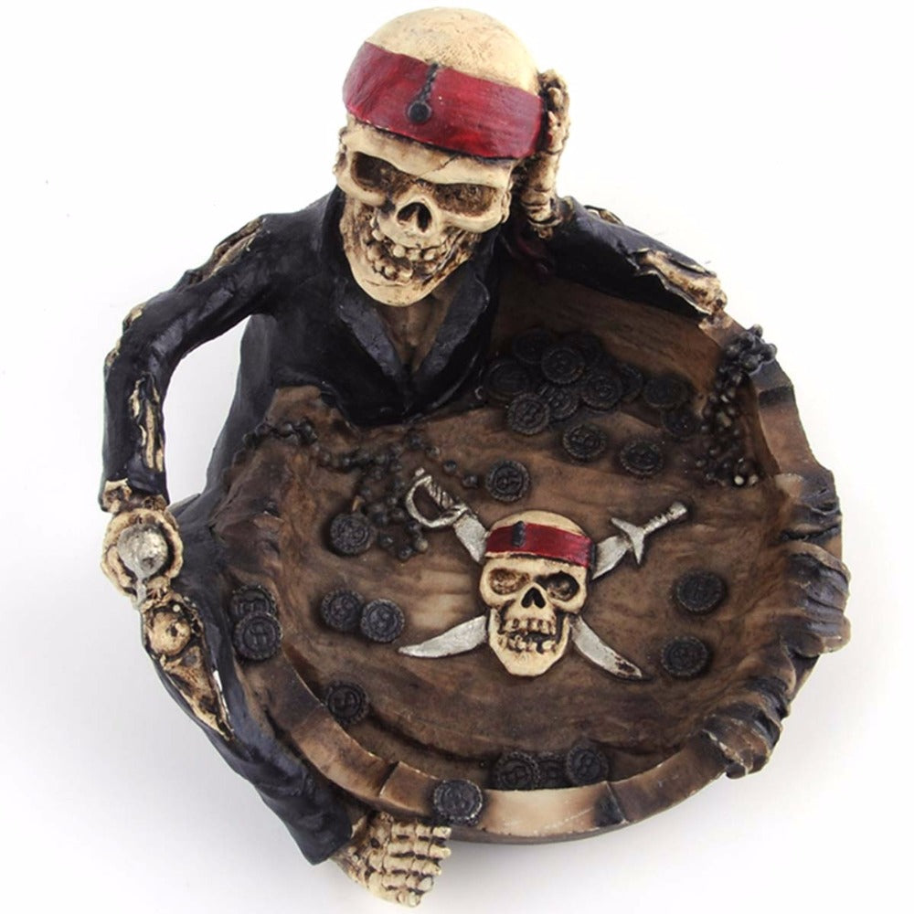 Resin Ashtray Lovely Cartoon Pirate Captain Skeleton Home Office Funny Gift Creative Personality Trend Ashtray