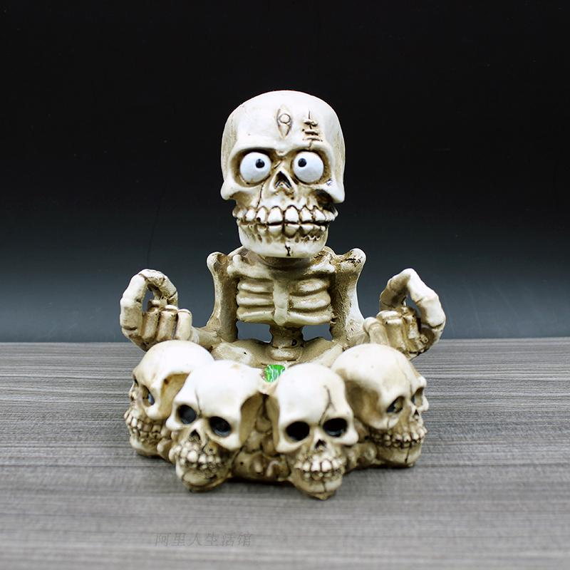 Resin Ashtrays with cover Cool creative man human five skull  ashtray husband Boy gift present fashion hot