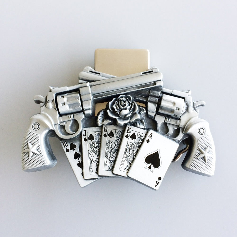 Retail New Vintage Gun Royal Flush Poker Spinner Lighter Belt Buckle Gurtelschnalle Boucle de ceinture