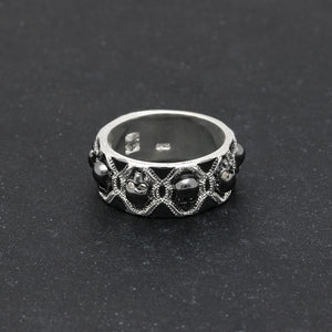 Black Evil Skull Rings For Men Women Silver Color Vintage CZ Gothic Skeleton Design Punk Pave Bands Finger Ring For Party