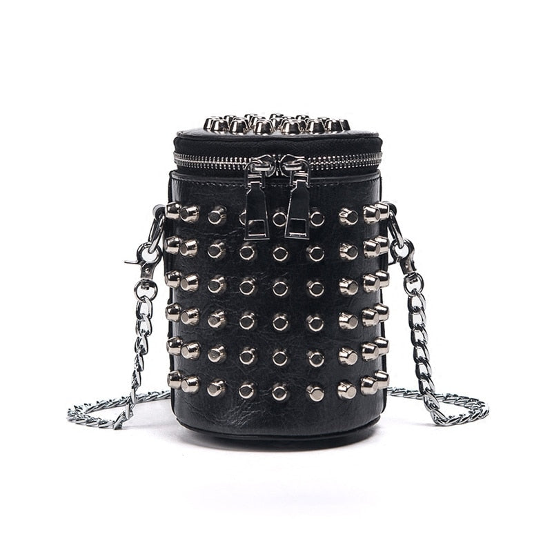 High-quality PU Leather Women bag Punk Rivet Bucket Shoulder bag