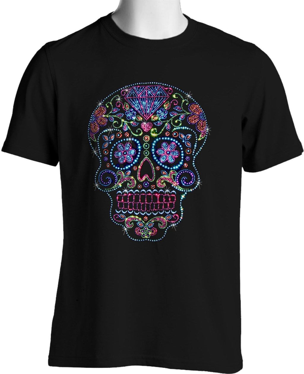 Rhinestone Studs Sugar Skull T Shirt Bling Fashion Mens dia de Muertos S to 4XL
