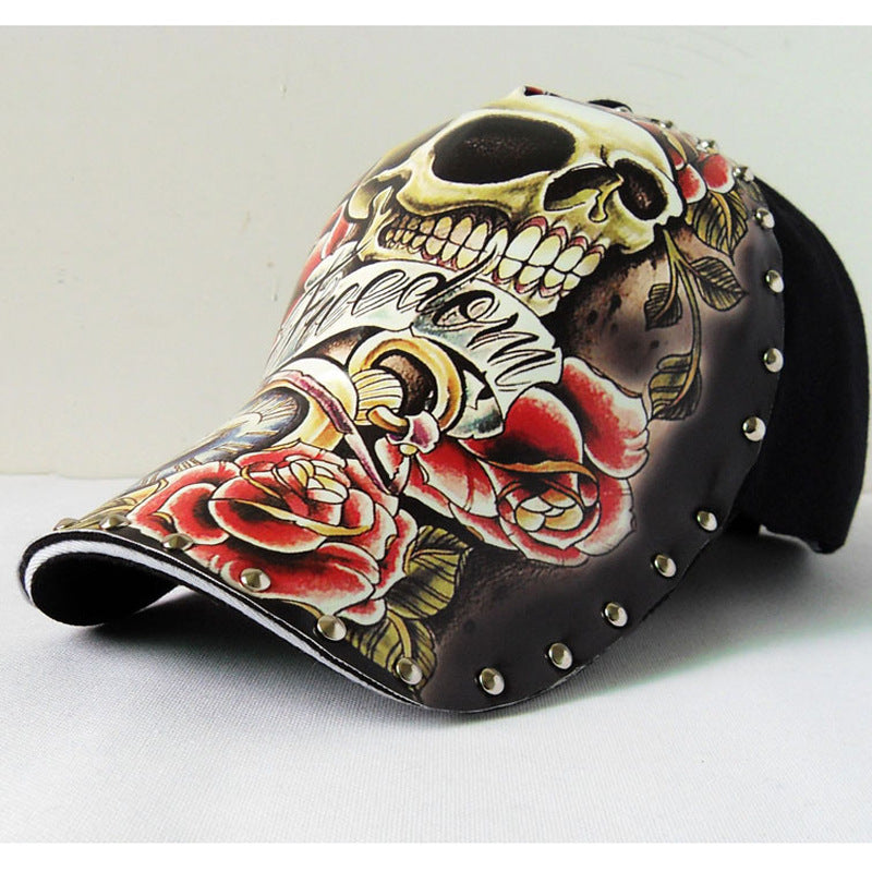 Riding hats illustration of skulls tattooed on a spring/summer new bicycle Baseball cap personality original Cycling Hats caps