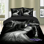 Romantic Skull Bedding Set, Duvet Cover Quilt Cover Pillow Cases Cool Bed Lines 3pcs