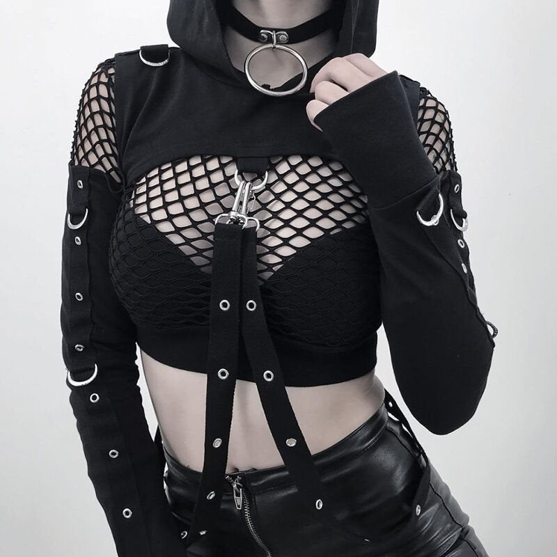 Goth Hoodie Sweatshirt Hooded Short Crop Top Halloween Party