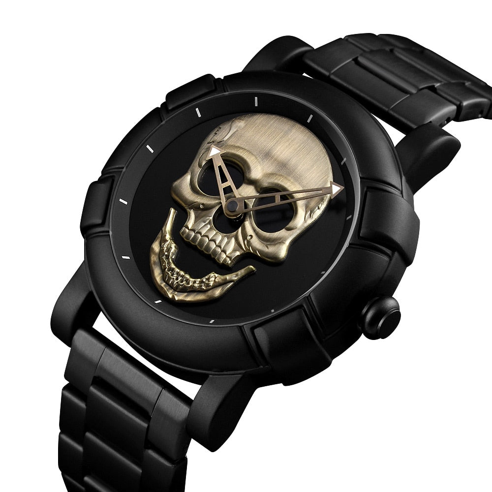 Fashion Skull Watch Men Waterproof Mens Watches Top Brand Luxury Stainless Steel Sports Quartz Man Watch Relogio Masculino